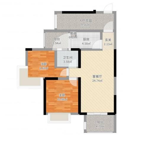 建曙高尔夫1号2室3厅2卫1厨89.00㎡户型图