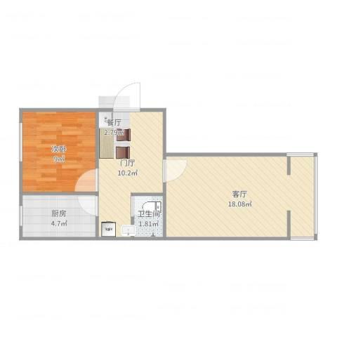 中塔园小区1室1厅1卫1厨55.00㎡户型图