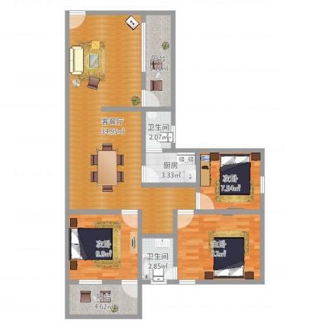 车陂检察院宿舍3室2厅2卫1厨103.00㎡户型图