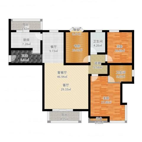 城建花园3室2厅3卫1厨139.00㎡户型图