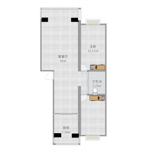 水晶尚品1室2厅1卫1厨84.00㎡户型图