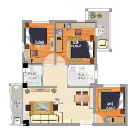 德埔小区3室1厅1卫1厨87.00㎡户型图