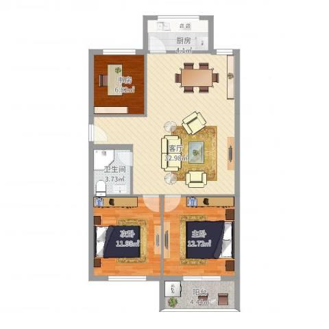 南塘花园3室1厅1卫1厨107.00㎡户型图