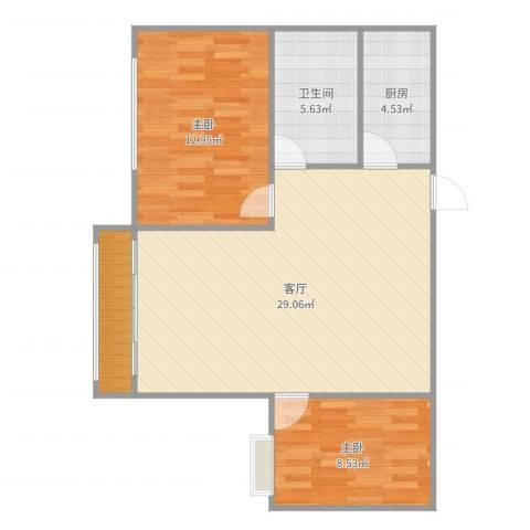 晨阳庄园2室1厅1卫1厨79.00㎡户型图