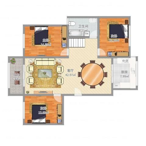 华能城市花园3室1厅1卫1厨128.00㎡户型图