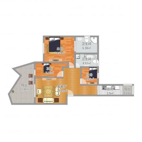 新光城市广场3室2厅2卫1厨102.00㎡户型图