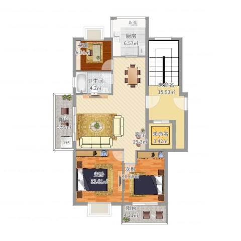 荣安世家3室1厅1卫1厨112.23㎡户型图