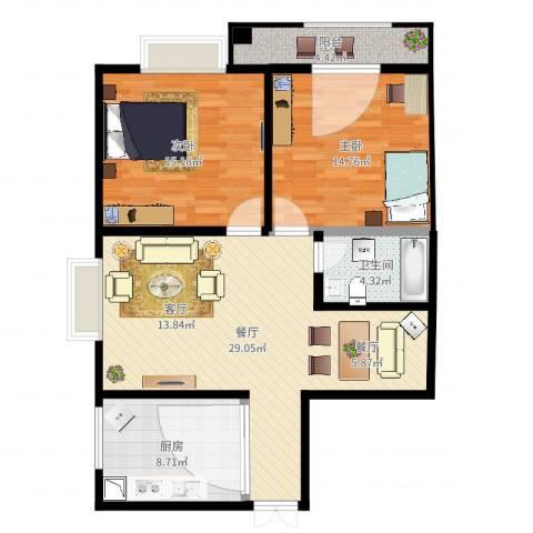 光明小区B2东南户2室1厅1卫1厨96.00㎡户型图