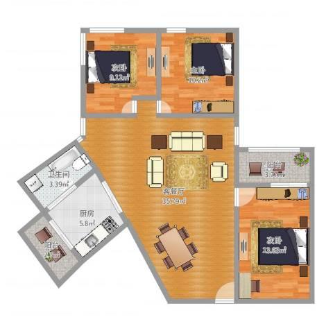 龙津大厦3室2厅1卫1厨105.00㎡户型图