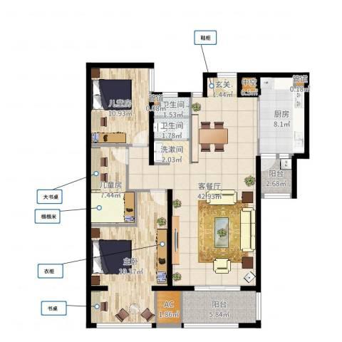 长江越领3室2厅2卫1厨129.00㎡户型图