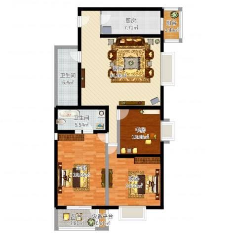 空港米兰花园3室1厅2卫1厨130.00㎡户型图