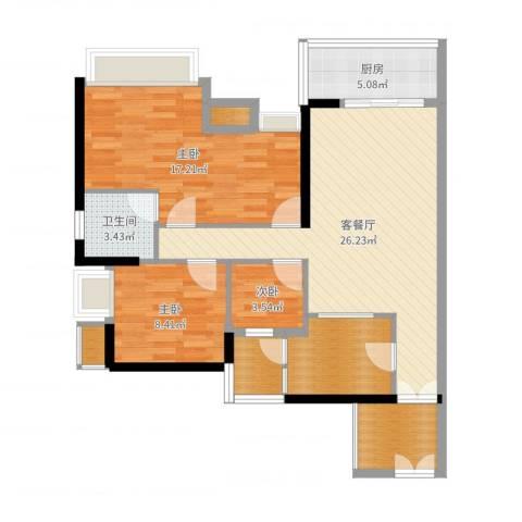 礼顿・金御海湾4室2厅3卫1厨96.00㎡户型图