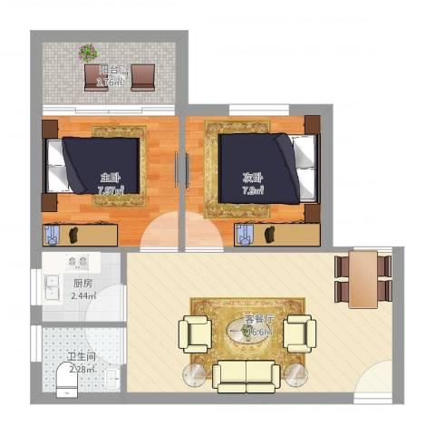 中兴苑2室2厅1卫1厨51.00㎡户型图