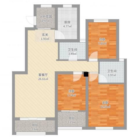 星河蓝湾3室2厅2卫1厨96.00㎡户型图