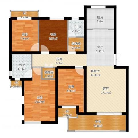 盘蠡新村4室2厅2卫1厨124.00㎡户型图