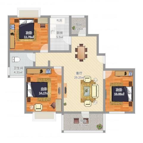 丰水宝邸西苑3室1厅1卫1厨106.00㎡户型图