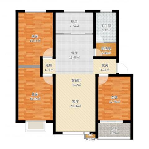 盘蠡新村3室2厅1卫1厨128.00㎡户型图