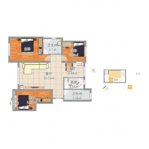 郡原小石城3室1厅2卫1厨118.00㎡户型图