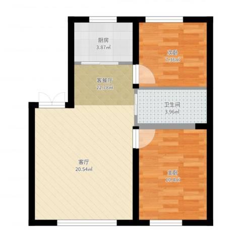 御景名都2室2厅1卫1厨60.00㎡户型图