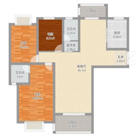 龙庭一品3室4厅2卫1厨148.00㎡户型图