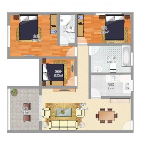 莱蒙水榭春天3室1厅2卫1厨95.00㎡户型图