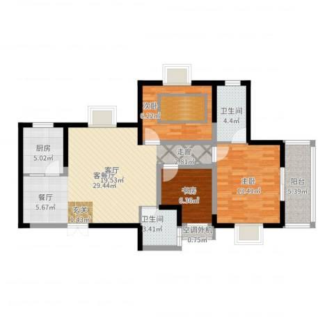 海�国际3室2厅2卫1厨97.00㎡户型图