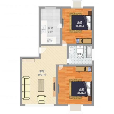 好日子大家园D区2室1厅1卫1厨66.00㎡户型图