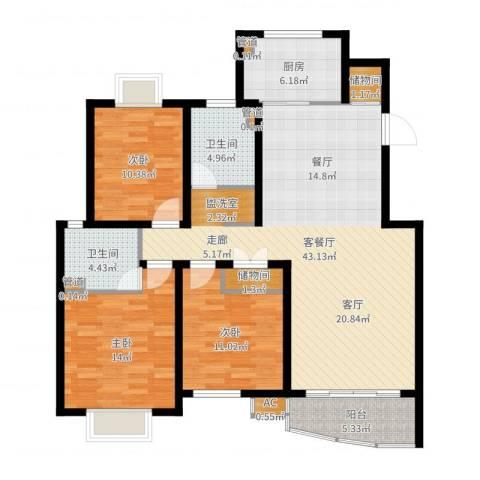 盘蠡新村3室2厅2卫1厨128.00㎡户型图