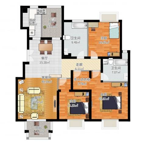 2U・香花畦3室2厅2卫1厨148.00㎡户型图