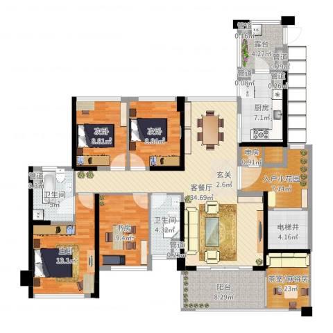 绿岛湖壹号4室2厅2卫1厨155.00㎡户型图