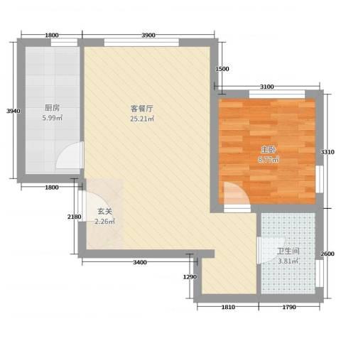 住总众邦·长安生活港1室2厅1卫1厨67.00㎡户型图