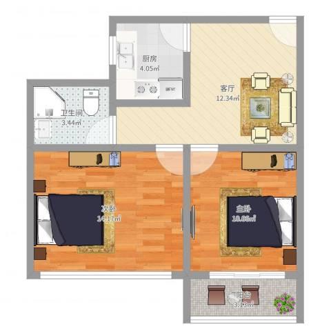 国和一村2室1厅1卫1厨59.00㎡户型图
