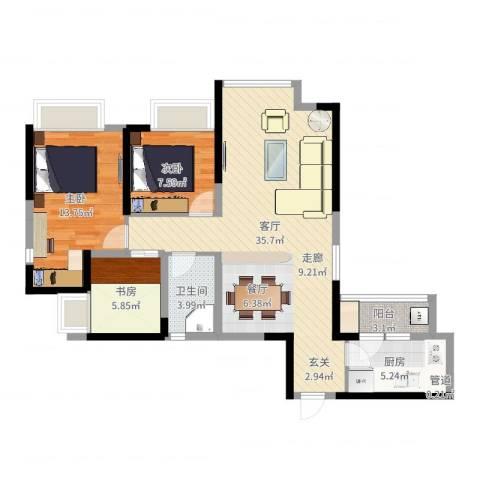 中铁城锦南汇3室1厅1卫1厨94.00㎡户型图