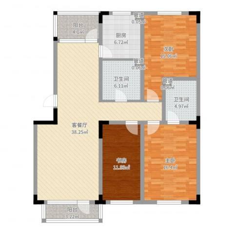 保利林语3室2厅2卫1厨134.00㎡户型图