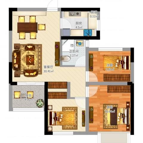 龙湖湘风原著2室2厅2卫1厨75.00㎡户型图