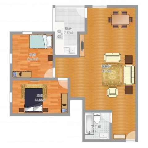 穗文大厦2室2厅1卫1厨97.00㎡户型图