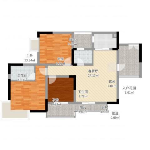 上河鹂岛3室2厅2卫1厨103.00㎡户型图