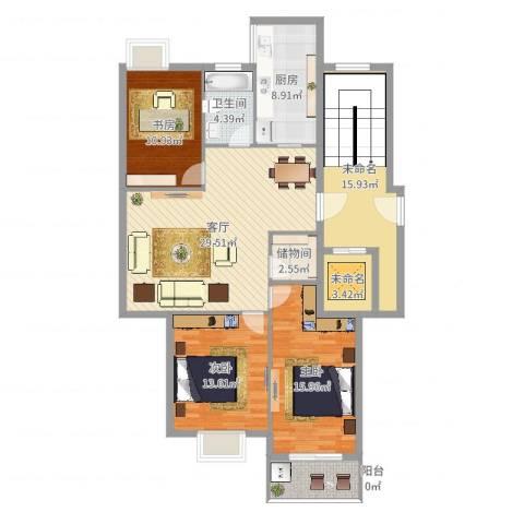 荣安世家3室1厅1卫1厨122.64㎡户型图