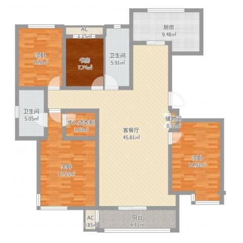 万科金域蓝湾4室2厅4卫1厨161.00㎡户型图