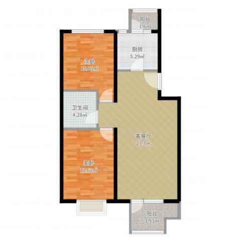 领秀新硅谷2室2厅1卫1厨82.00㎡户型图