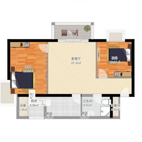 丽都东镇滨河1号别墅2室2厅1卫1厨101.00㎡户型图