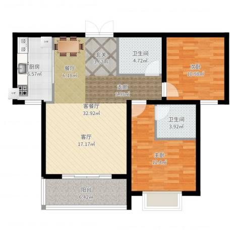 崇城国际2室2厅2卫1厨97.00㎡户型图
