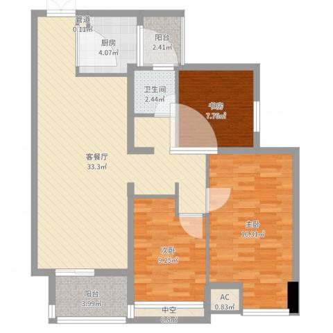 青山湾3室2厅3卫2厨102.00㎡户型图