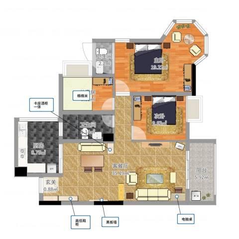 云峰花园四期3室2厅2卫1厨116.00㎡户型图