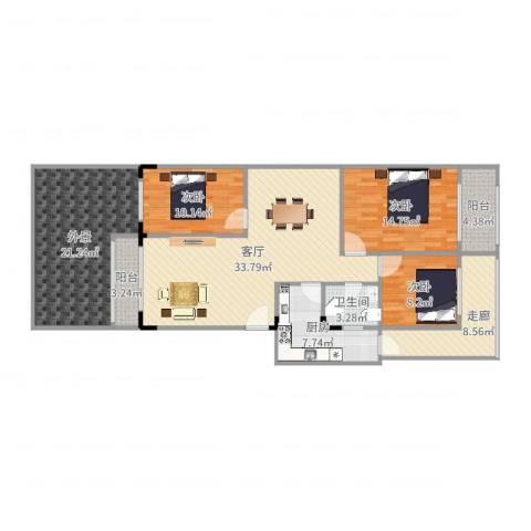 信海花园3室1厅1卫1厨144.00㎡户型图