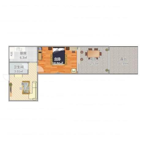 八里庄北里1室1厅1卫1厨78.00㎡户型图