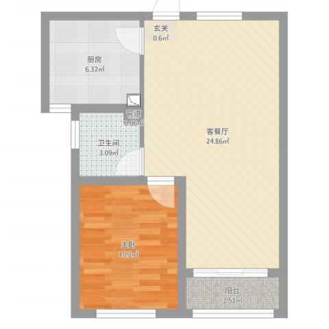 金马怡园1室2厅1卫1厨59.00㎡户型图