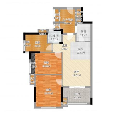 万科云山3室1厅1卫1厨96.00㎡户型图