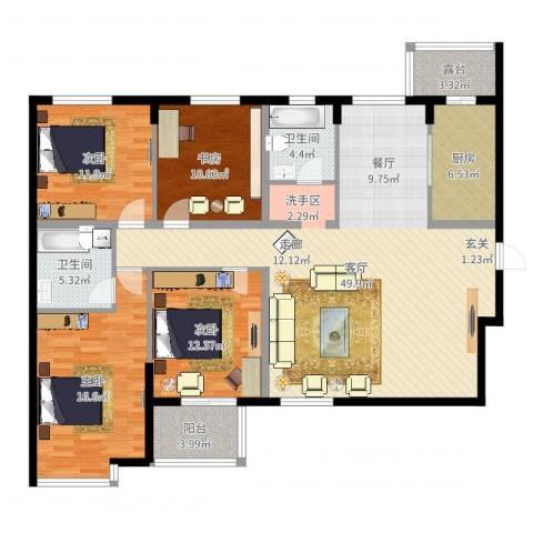 融富中心4室1厅2卫1厨125.17㎡户型图