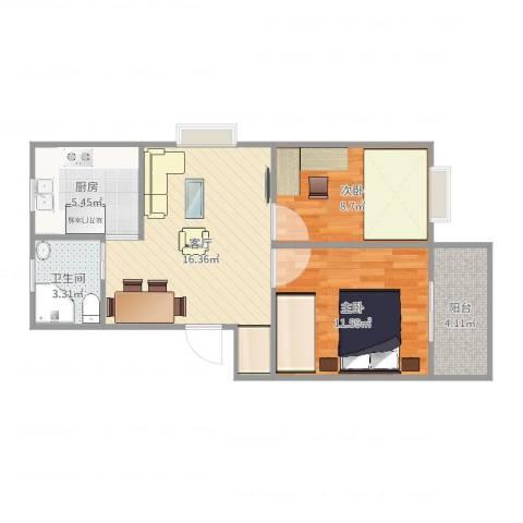 繁荣安居2室1厅1卫1厨62.00㎡户型图